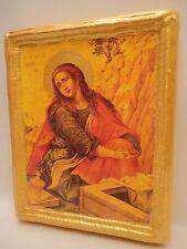 Saint Mary Magdalene Rare Catholic & Eastern Orthodox Icon on Aged Wood Plaque