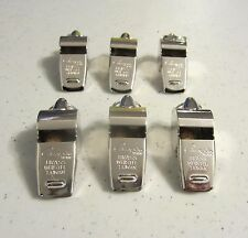 6 NEW CHAMPION BRASS METAL REFEREE WHISTLES SILVER COLOR HEAVY DUTY