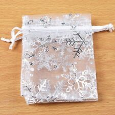 50 Snowflake White Jewelry Candy Organza Pouch XMAS Wedding Favor Gift Bag 7x9cm