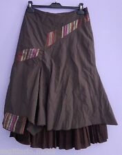 GONNA NERA LONGUETTE MIDI MAXI SKIRT ROCK MARRONE PATCHWORK ASIMMETRICA BALZA