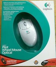 Blanco Mouse Óptico Logitech piloto rueda con cable USB PS/2 Pc Mac