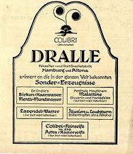 Feinseifen-u.Parfümeriefabrik Dralle Hamburg Colibri Historische Annonce 1918