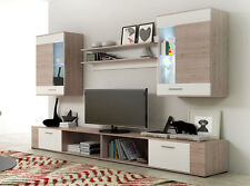 Wall unit furniture living room tv stand cabinet Oak&white LED, NEW MODEL!!