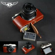 Genuine real Leather Half Camera Case bag cover for Olympus E-P5 EP5 Bottom Open