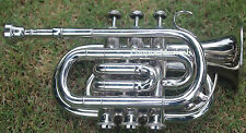 """POCKET-TRUMPET Bb""""NEW CHROME""""PLATED WITH BAG 7C MOUTH PIECE FAST SHIP 1"""
