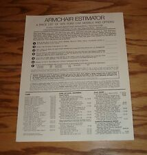 Original 1970 Ford Car Armchair Estimator Brochure 70 Mustang Thunderbird