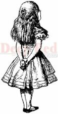 Deep Red Rubber Cling Stamp Alice in Wonderland Standing