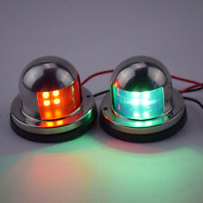 One Pair 12V Stainless Steel LED Bow Navigation Lights Red & Green Low Price