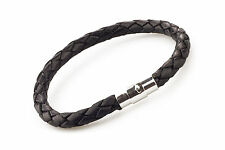 Unisex Men's Genuine Braided Leather And Stainless Steel Magnetic Clasp Bracelet