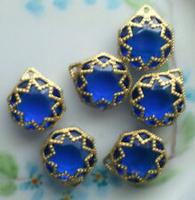#745 Vintage Filigree Findings Charms Pendants Gold Tone Cobalt Victorian Beads