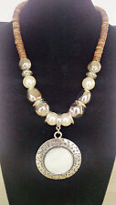 Antique Silver Round Shell Pendant Faux Pearl Natural Coconut  Bead Necklace