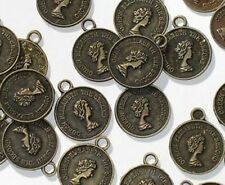 Lot 25 Brass Metal Vintage New COIN Charms Elizabeth