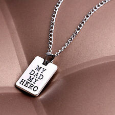 "Family Love Gift ""My Dad My Hero "" Letter Pendant Chain Choker Necklace Fancy"
