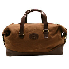 Rowallan - Brown Canvas Travel Holdall/Bag with Leather Trim and Shoulder Strap
