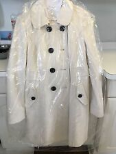 WHITE Wool - Women's Long Pea Coat - Sz S - Dry-Cleaned - Old Navy