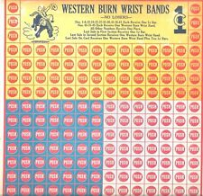 Unused 1930-50s Punchboard  Western Burn Wrist Bands   Bronc Rider Image