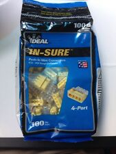 Ideal In-Sure Push In Wire Connectors 100 Qty 4 Port Insure #12 - #20 AWG
