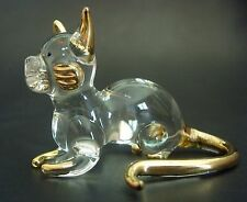 Glass CAT KITTEN Clear Gold Painted Glass Animal Glass Ornament Curio Display