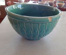 Vintage Antique McCoy Pottery Stoneware Mixing Bowl Fish Scale Pattern Green
