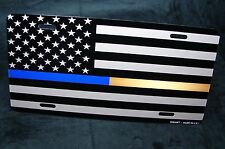 THIN GOLD AND THIN BLUE LINE METAL NOVELTY LICENSE PLATE AMERICAN FLAG FOR CARS