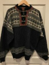 Christiania Norweigen Wool Pull Over Sweater Blue Nordic Snowflake Women's XXL