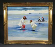 """Oil Painting on Canvas, """"Children Playing at the Beach"""", Little Girls"""