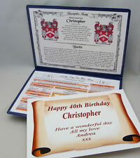 SPECIAL BIRTHDAY GIFT -YOUR NAME,IT'S MEANING,COAT OF ARMS,DAY YOU WERE BORN