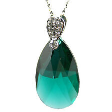 Indian Emerald Green Teardrop Crystal Silver Necklace with Swarovski Elements UK