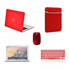"""5 IN 1 Macbook Air 13"""" Rubberized Red Case + Keyboard Skin + LCD + Bag + Mouse"""