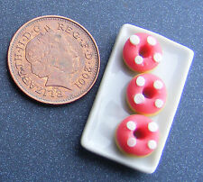 1:12 Ceramic Tray Of 3 Hand Made Pink Donuts Doll House Miniature Accessory PL64