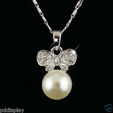 18k white Gold GF Swarovski elements wings pearl crystals pendant necklace