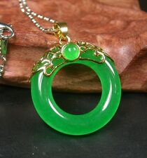 Gold Plate CHINESE Icy Green JADE Pendant Circle Donut Necklace 256983