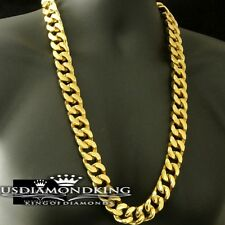 MENS STAINLESS STEEL 14K YELLOW GOLD FINISH 500g CUBAN CURB CHAIN NECKLACE 30""