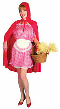 Ladies Little Red Riding Hood Fancy Dress Costume Childrens Fairytale Outfit UK