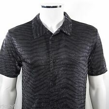 INTIMO Men's S/S Metallic Shirt Animal Print Sparkle Sheer BLACK Size M NWT