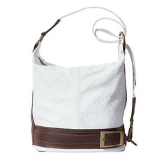 Shoulder Bag Italian Genuine Leather Hand made in Italy Florence 300S wh