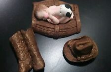 FONDANT EDIBLE BABY WESTERN BOOTS HAT COWBOY CAKE TOPPER BABY SHOWER BAPTISM 1st