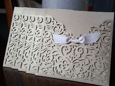 Laser Cut Wedding Invitation Card Holders, Inserts, Envelopes & Seals, 5 packs