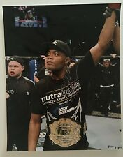 "ANDERSON SILVA UFC HAND SIGNED PHOTO 16"" x 20"" WITH BELT AUTOGRAPH"