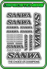 SANWA RC RADIO CONTROL STICKERS MT4 M12 SERVO RX TX CAR BUGGY RACE GREY WHITE