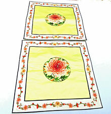 """Vintage Chinese Pillow Cover Silk Embroidered Floral Chrysanthemum New Pair 16"""""""