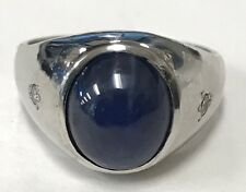 14k SOLID WHITE GOLD BIG STAR SAPPHIRE AND DIAMOND RING