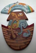 Shine Co. Wooden plaque hand painted Noah's Ark shaped 1998 repaired