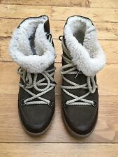 Isabel Marant Etoile Nowles Concealed Wedge Suede Leather Shearling Ski Boots 40