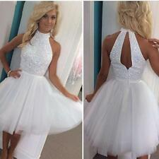 New White Beaded Short Keyhole Cocktail Prom School Formal Ball Homecoming Dress