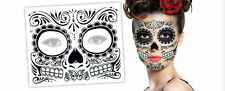 3 Day Of The Dead  Dia de los Muertos Face Mask TEMPORARY TATTOO Halloween