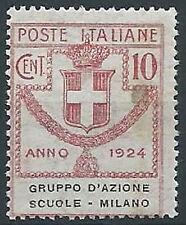 1924 REGNO PARASTATALI SCUOLE MILANO 10 CENT MNH ** - ED421-2