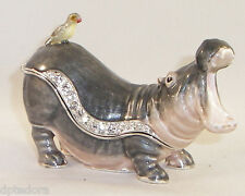 KINGSPOINT HIPPIE THE HIPPO  PEWTER  BEJEWELED HINGED TRINKET / JEWELRY BOX