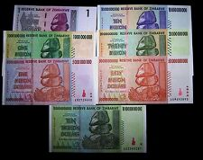 7 Zimbabwe Banknotes-includes all Billions and 10 Trillion Dollar-currency