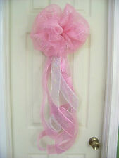 Baby Shower Girl Pink Deco Mesh Bow Wreath Birth Announcement Hospital Door